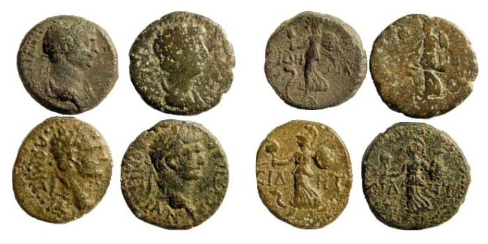 Ancient Coins - 4 coins from Pamphylia, Side. Nero, Domitian & Trajan