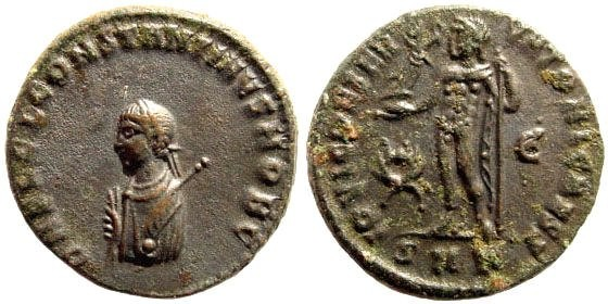 Ancient Coins - Constantine II, as Caesar. 317-340 AD. AE 3 (3.73 gm, 19mm). Cyzicus mint, Officina 5, 317-320 AD. RIC VII, 8