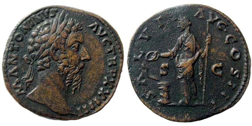 Ancient Coins - Marcus Aurelius, 161-180 AD. AE Sestertius (27.25 gm, 32mm). Rome mint, struck 169/170 AD. RIC III 979; Cohen 547
