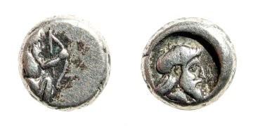 Ancient Coins - Cilicia, Uncertain City/Satrap. Circa 4th century BC. AR Diobol (1.08 gm). Hauck und Aufhäuser 18, 317 (2004)