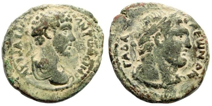 Ancient Coins - Syria, Decapolis. Gadara. Marcus Aurelius. AD 161-180. AE 28mm (13.61 gm, 12h). Dated CY 224, 160/1 AD. Spijkerman 38