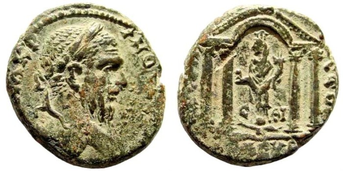 Ancient Coins - Judaea, Eleutheropolis. Macrinus, 217-218 AD. AE 24mm (11.38 gm, 12h). Dated City Year 19, 217/18 AD. Cf. SNG ANS 894 (draped bust). Very rare
