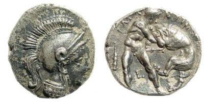 Ancient Coins - Calabria, Tarentum. Circa 302-228 BC. AR Diobol (0.96 gm). Vlasto 1366