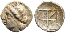 Ancient Coins - Crete, Kydonia. Early 2nd century BC. AR Diobol (1.64 g, 12.5mm). Dewing 2000. Very rare