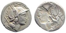 Ancient Coins - Anonymous. 209-208 BC. AR 'Brockage' Denarius (4.31 gm, 19mm). Mint in Sicily. Sydenhame 214; Crowford 80/1a