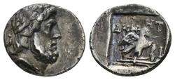Ancient Coins - Karia, Stratonikeia. 150-120 BC. AR Hemidrachm (1.55 gm). Demetri(os) magistrate. SNG von Aulock 8132