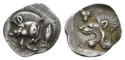Ancient Coins - Mysia, Kyzikos. Circa 510-475 BC. AR Hemiobol (0.39 gm, 11mm). SNG France 386