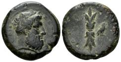 Ancient Coins - Sicily, Syracuse. Time of Dion . 357-354 BC. AE Hemidrachm (15.00 gm). SNG Copenhagen 727