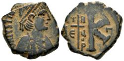 Ancient Coins - Justinian I. 527-565. AE Half Follis (9.31 gm, 25mm). Theoupolis (Antioch), 533-537. SB 226