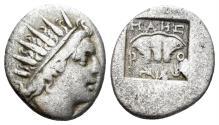 Ancient Coins - Karia, Islands off, Rhodes. Circa 88-84 BC. AR Plinthophoric Drachm (1.97 gm, 15mm). SNG Helsinki I 686