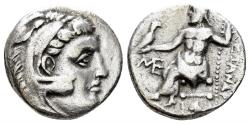 Ancient Coins - Macedonian Kingdom, Alexander III, 336-323 BC, AR Drachm (3. gm, 16mm). Abydos, 310-301 BC. Price 1560