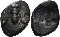 Ancient Coins - Ionia, Ephesos. Circa 550-500 BC. AR Persian Standard 1/24th (0.42 gm, 8mm). SNG Kayan 115. Rare
