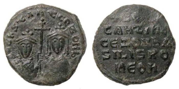 Ancient Coins - Constantine VII and Zoe, 913-959 AD. Æ Follis (7.86 gm). Constantinople mint. Struck 914-919. DOC III 22; SB 1758