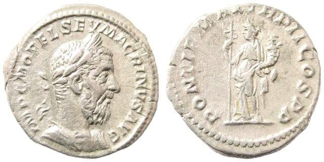 Ancient Coins - Macrinus, 217–218 AD. AR Denarius (3.28 gm, 19mm). Rome, ca. late July AD 217–February 218. BMCRE 29. RIC 4. RSC 79