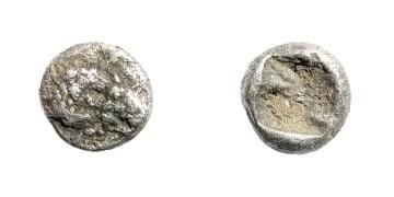 Ancient Coins - Lydian Kingdom, Sardeis. Kroisos, 561 - 546 BC. AR 1/24th Stater (0.39 gm, 6.5mm). SNG von Aulock 2880