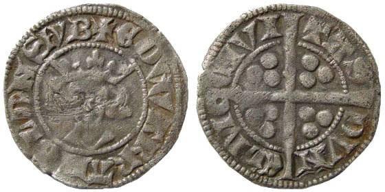 Ancient Coins - Medieval England. Edward III, 1327-1377. AR Penny (1.42 gm). Pre-Treaty. Series C. Durham mint. S 1592