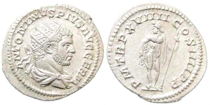 Ancient Coins - Caracalla, 198-217 AD. AR Antoninianus (5.25 gm, 24mm). Rome mint, struck 216 AD. RIC IV 280e; BMCRE 167; RSC 349a