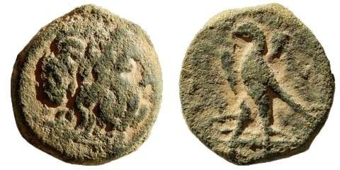 Ancient Coins - Ptolemaic Kingdom. Ptolemy II Philadelphos. 285-246 BC. AE  Hemiobolion/ 1/5th (4.76 gm, 18mm). Tyre mint. Struck 261-256 BC. Weiser 45