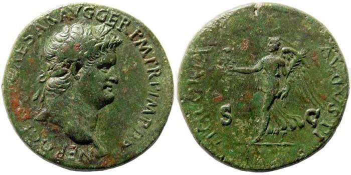 Ancient Coins - Nero, 54-68 AD. AE Dupondius (14.14 gm, 29mm). Lugdunum (Lyon) mint. Struck circa 65 AD. RIC I 411; WCN 506