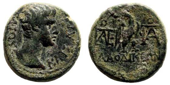 Ancient Coins - Phrygia, Laodikeia. Gaius, Caesar Gaius, Caesar, grandson of Augustus, struck ca 5 AD. AE 15mm (3.11 gm). RPC I 2900; BMC 154