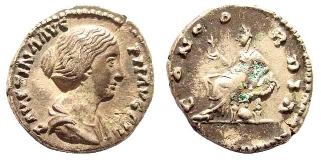 Ancient Coins - Faustina II, 145-175 AD, wife of Marcus Aurelius. AR Denarius (2.94 gm, 17mm) Rome mint, 149-156 AD. RIC A502a; Cohen 53