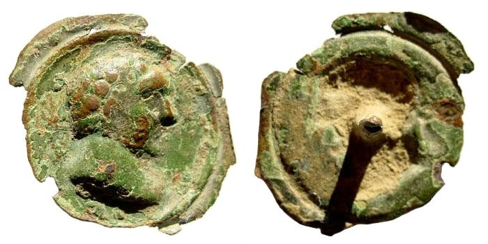 Ancient Coins - Roman 2nd century bronze button with depiction of Trajan, 98-117 AD, 22mm (0.7 gm)