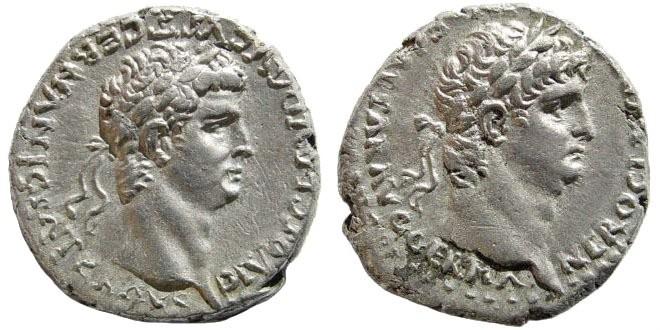 Ancient Coins - Cappadocia, Caesaraea-Eusebia. Nero, with Divus Claudius. AD 54-68. AR Didrachm (7.31 gm, 20mm). Struck AD 63-65