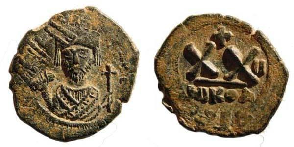 Ancient Coins - Phocas, 602-610 AD, AE ½ Follis (6.14 gm.). 22.82 mm. Nicomedia. Sear 663