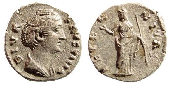 Ancient Coins - Diva Faustina. Sr., wife of Antoninus Pius. Died 141 AD. AR Denarius (3.46 gm). Struck after circa 146 AD. RIC III 344