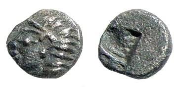 Ancient Coins - Ionia, Kolophon. Circa late 6th Century BC. AR Tetartemorion (0.16 gm, 5mm). SNG Kayhan 343