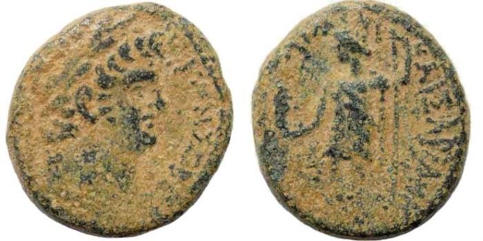 Ancient Coins - Judaea, Caesarea Maritima. Nero, 54-68 AD. AE 23mm (11.12 gm). 68 AD. RPC I, 4862