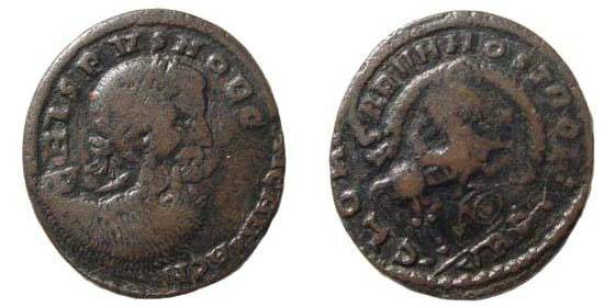 Ancient Coins - Crispus & Magnentius on trick-bronze, from uncertain barbaric mint in France, AE 3 (2.68 gm.)