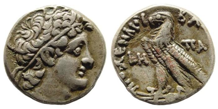 Ancient Coins - Ptolemaic Kingdom. Ptolemy IX Soter II. 116-107 BC. AR Tetradrachm (14.07 gm). Alexandria mint. Dated RY 8 (110-109 BC). Svoronos 1669; SNG Copenhagen 352