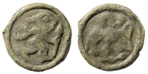 Ancient Coins - Gallia Belgica, the Remi. Cast Potin (4.13 gm, 12h, 21mm), ca. 100-60 BC. Scheers 191