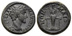 Ancient Coins - Lydia, Maionia. Marcus Aurelius, as Caesar, 139-161 AD. AE 18mm (4.18 gm). BMC 39; RPC Online 1301