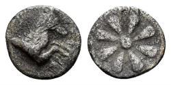 Ancient Coins - Aiolis, Kyme. Circa 4th century BC. AR Hemiobol (0.32 gm, 7.5mm). SNG Kayan 91