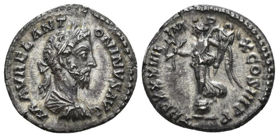 Ancient Coins - Marcus Aurelius. 161-180 AD. AR Denarius (2.71 gm, 18mm). Rome mint. Struck 180 AD. RIC III 411 var. (bust type)