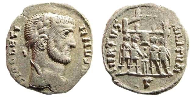Ancient Coins - Diocletianus, 284-305 AD. AR Argenteus (2.86 gm). Barbaric Imitation