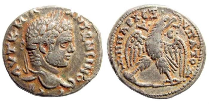 Ancient Coins - Syria, Seleucis and Pieria. Antioch. Caracalla, 198-217 AD. AR Tetradrachm (12.99 gm, 26mm). Struck 215-217 AD. Prieur 224