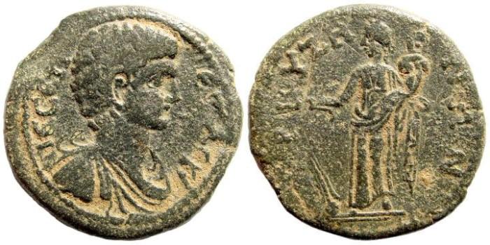 Ancient Coins - Phrygia, Bruzos. Geta, 197 - 211 AD. AE 26mm (9.08 gm). SNG Österreich 1476 (same obverse die). Rare