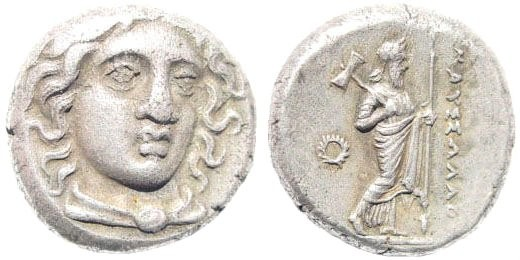 Ancient Coins - Karian Satraps. Maussolos. Circa 377/6-353/2 BC. AR Drachm (3.67 gm, 14mm). SNG von Aulock 2365