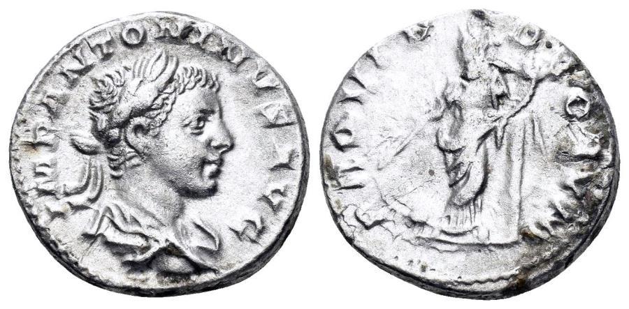 Ancient Coins - Elagabalus. 218-222 AD. AR Denarius (3.85 gm, 18mm). Rome mint. Struck 219-220 AD. RIC IV 130