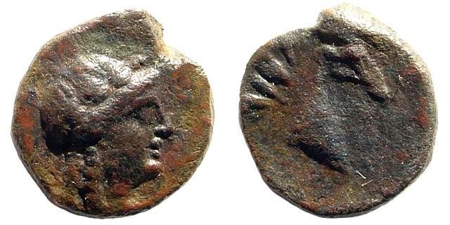 Ancient Coins - Aiolis, Aigai. Circa 350-300 BC. AE 10mm (0.94 gm). SNG Tübingen 2679; SNG von Aulock 1593