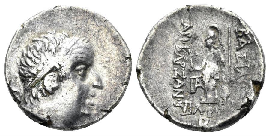Ancient Coins - Cappadocian Kingdom. Ariobarzanes I, Philoromaios. 95-63 BC. AR Drachm (3.59 gm, 16mm). RY 32 (64 BC). Simonetta 46b
