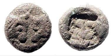 Ancient Coins - Caria, uncertain mint. Before 440 BC. AR Hemiobol (0.27 gm, 6mm). SNG Helsinki I, 909