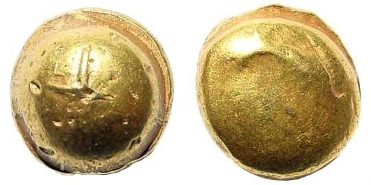 Ancient Coins - Gallia, Senones. Circa 100-60 BC. AV Stater (7.33 gm, 12mm). Gallo-Belgic Bullet Type. Scheers pg, 308, 15