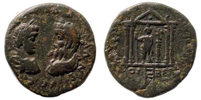Ancient Coins - Phoenicia, Berytus, Septimius Severus and Caracalla, 208 AD, AE 24 mm (10.46 gm.). BMC 26.70,122. Rare