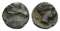 Ancient Coins - Karia uncertain. Circa 400-350 BC. AR Persic Hemiobol (0.40 gm, 8mm). SNG Helsinki I, 873