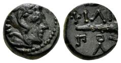 Ancient Coins - Macedonian Kingdom. Philip II. 359-336 BC. AE Chalkous (1.48 gm, 10mm). Uncertain mint. Cf. AMNG Typ 168, 41