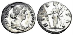 Ancient Coins - Faustina II. Augusta, AD 147-175. AR Denarius (2.78 gm, 18mm). Rome mint. Struck 161-164 AD. RIC III 686